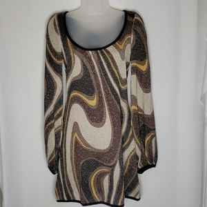 Bebe Tunic | Size S | Black, Brown Gold